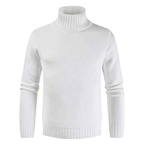 Jersey básico de Cuello Alto para Hombre Slim Fit Color sólido Moda Todo-fósforo Clásico Casual Elegante Suéter de Punto Primavera y otoño M