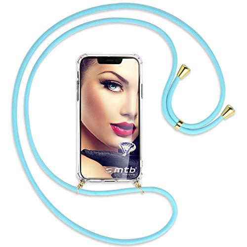 mtb more energy Collana Smartphone per Samsung Galaxy J5 2017 (SM-J530, 5.2'') - Cielo Blu/Oro - Custodia indossabile per Collo - Cover a Tracolla con cordina