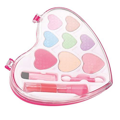 lahomia Lindo Juego de Cosméticos en Forma de Corazón Conjunto Conjunto de Maquillaje de Moda para Juguetes para Niñas