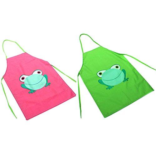 Wasserdichte Schürze für Kinder, mit Cartoon-Frosch bedruckt, zum Malen und Kochen, Grün + Rosa, 2 Stück