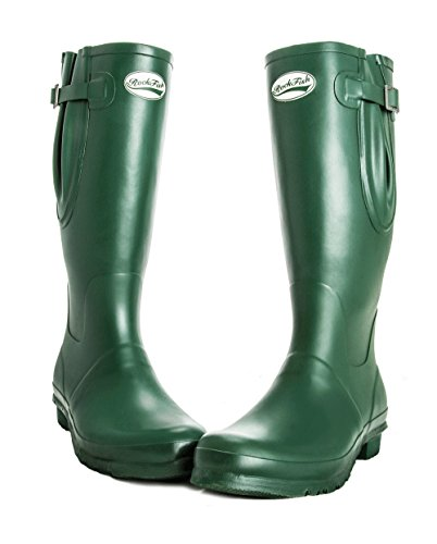 FREE DELIVERY, Men's Wellington boots, Racing Green, Matt Finish, Calendared lined for warmth, Adjustable, Natural Rubber, Shock absorbent foot bed, SIZE 10