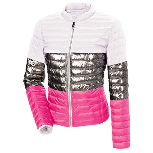 MILESTONE Cherrypie Damen Jacke Steppjacke Wendejacke Mehrfarbig Weiß Silber Metallic Pink Stehkragen Tailliert Leicht 100% Polyamid (38)