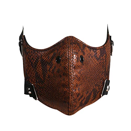 JewelryWe Punk Rock Mask Outdoor Sports Riding Motorcycle Mask Half Face Leather Dust Proof Mask for Men Women