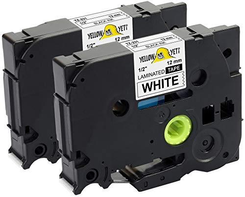 Yellow Yeti 2 Schriftbander TZe-231 TZ-231 schwarz auf weiß 12mm x 8m Etikettenbänd kompatibel für Brother P-Touch PT-1000 PT-H100 PT-D210VP PT-D400 PT-D600VP PT-P700 PT-P750W CUBE Etikettendrucker