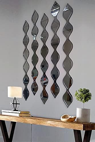 Espejos decorativos de gota de agua espejo decoración de pared negro, blanco, oro y plata (plata)