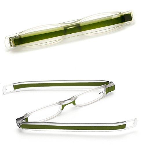 VEVESMUNDO leesbril heren dames opvouwbaar mini draagbare 360 ° roterende pen leesbril volledige rand bril leeshulp 1.0 1.5 2.0 2.5 3.0 3.5 4.0