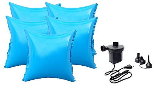 well2wellness® 5 x Pool Luftkissen Poolkissen Winterkissen mit neuem Ventil für Abdeckplanen Plus Elektropumpe