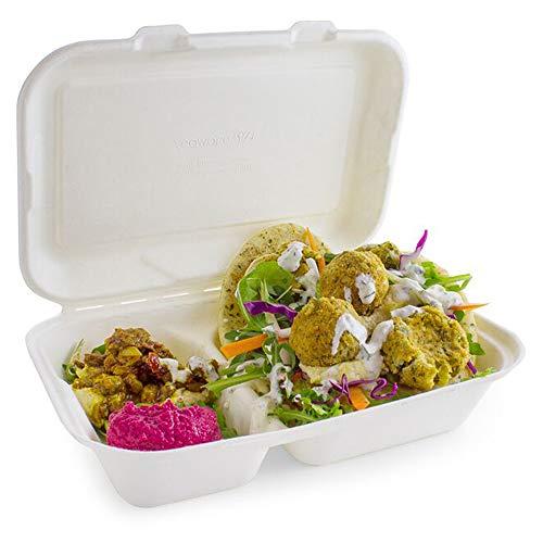 Confezione da asporto a due scomparti, per uso alimentare, a conchiglia, 15,2cm–Set di 50 scatole ecologiche in bagassa