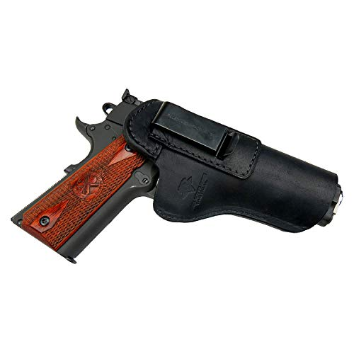Relentless Tactical The Defender Leather IWB Holster - Fits Most 1911 Style Handguns - Kimber - Colt - S & W - Sig Sauer - Remington - Ruger & More - Made in USA - Black Right Handed