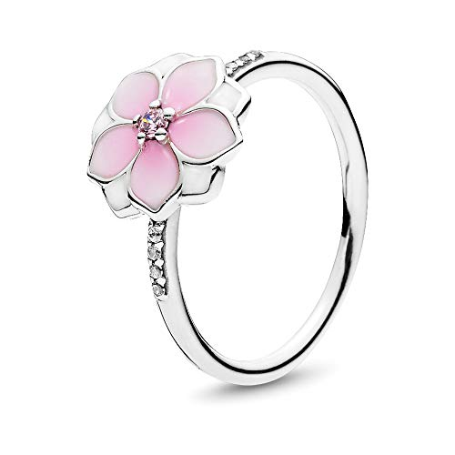 Pandora Jewelry Magnolia Bloom Cubic Zirconia Ring in Sterling Silver, Size 7