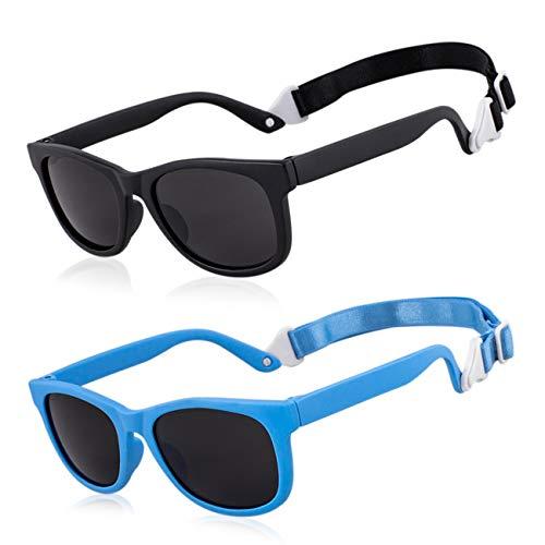 MAXJULI Baby Infant Sunglasses Safe, Soft, With Adjustable Strap 0-24 Months BPA Free (Black/Black+Blue/Black)
