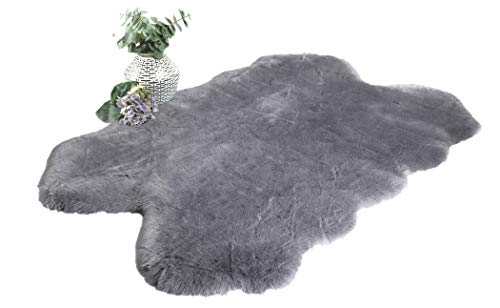 Chesserfeld Luxury Faux Fur Sheepskin Rug, Gray, 4ft x 6ft with Thick Pile, Machine Washable, Makes a Soft, Stylish Home Décor Accent for a Kid's Room, Bedroom, Nursery, Living Room or Bath