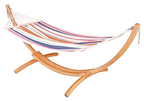 CHILLOUNGE Sunrise - Outdoor Spreader Bar Hammock with Stand Set, Weatherproof Hammock and Certified Sustainable Wood Arc Stand