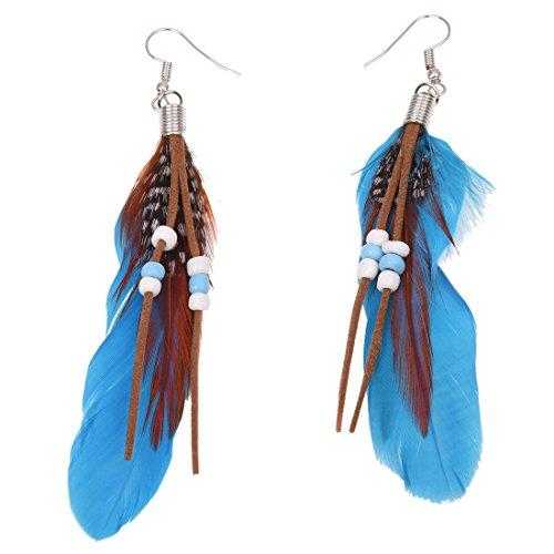 Sodial(R) Par de pendientes de plumas azules para mujer, decoración con cuentas falsas, gancho tipo anzuelo