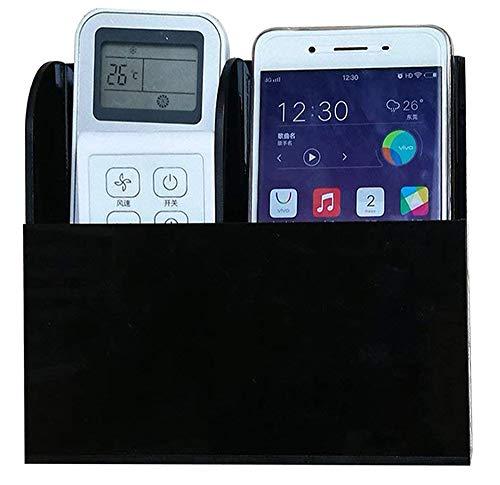 joyjorya 2nd Generation Acrylic Remote Control Holder Wall Mount Media Organizer Storage Box Mobile Phone Holder Black (Two Compartment)