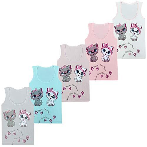 LOREZA ® 5 Stück Mädchen Baumwolle Unterhemden Tank Top Kinder - 140-146 (10-11 Jahre) - Modell 2