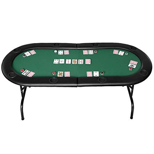 Casart Poker Table Foldable Casino Game Texas 8 Player Poker Table Poker Set