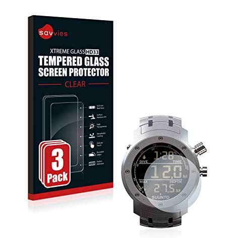 savvies Pellicola Vetro Temperato Compatibile con Suunto Elementum Aqua Steel (3 Pezzi) Protezione, Schermo Protettivo, Glass Durezza 9H