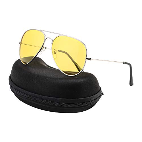 Night Driving Glasses Anti Glare Polarized Aviator Sunglasses for Women Men, Rainy Safe HD Night Vision Glasses with Yellow UV400 TAC Lenses for Sports Outdoor Activities, Glasses Case Included
