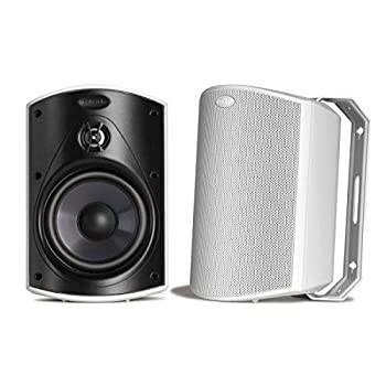 Polk Audio Atrium 5 Outdoor Speakers with Powerful Bass  Pair White  All-Weather Durability Broad Sound Coverage Speed-Lock Mounting System