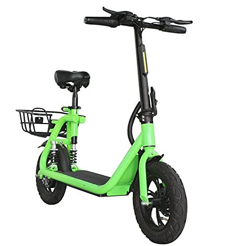 "LuvTour Patinete Electrico Adultos con Asiento y Canasta, 350W E-Scooter Plegable 30Km/h, 35Km de Autonomía, 3 Modos de Velocidad, Neumáticos de 12"", Doble Suspensión, Frenos de Disco (Verde)"