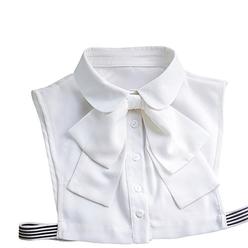 Shinywear Korean Women White Detachable Bow False Shirt Doll Collar Blouse Dickey