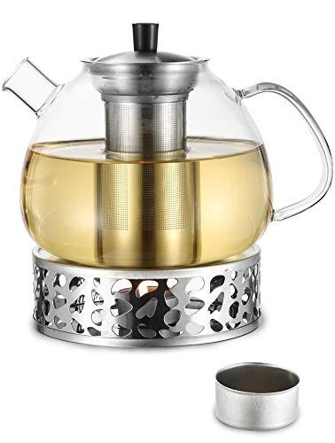 Cosumy 1500ml Teekanne Glas mit Stövchen Set in Geschenkbox - Edelstahl Siebeinsatz - Spülmaschinenfest