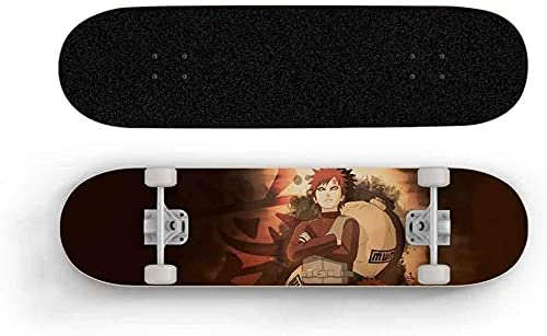Nixi888 Skateboard de Anime Naruto Gaara Sand Gourd Skateboard de Cuatro Ruedas, Principiante/monopatín para Adolescentes, Doble Rocker para Adultos Principiante Camino Street Scooter