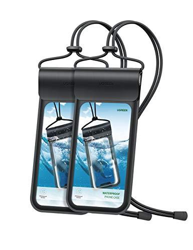 UGREEN Funda Impermeable Móvil, 2 Unidades IPX8 Bolsa Sumergirble Movil, 6.5inche Funda Movil Universal Agua con Suave Cordón de Algodón para iPhone SE/11/8P, Huawei P40/P30, Xiaomi Mi A2, Galaxy S20