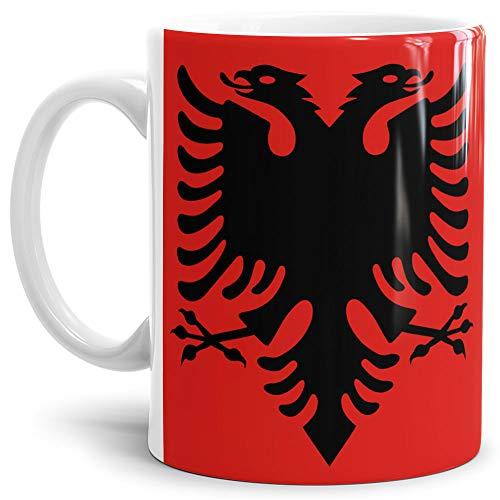 Tassendruck Flaggen-Tasse/Souvenir/Urlaub/Länder-Fahne/Kaffetasse/Mug/Cup - (Albanien, Normal)