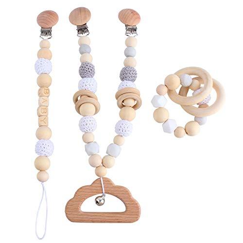 N|A Yuanshenortey - Cadena para chupete de bebé, anillo de madera, pulsera para colgar el cochecito, colgante con sonajero, mordedor, juguete de lactancia, 3 unidades