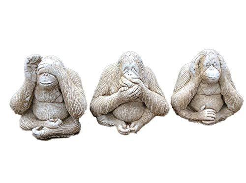 Monos Speak, See, Hear No Evil mano fundido piedra adorno de  jardín/estatua/escultura