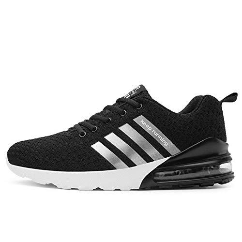 TORISKY Sportschuhe Herren Damen Laufschuhe Air Cushion Luftkissen Sneakers Turnschuhe Fitness Gym Leichtes Bequem Schuhe(A051-BK44)