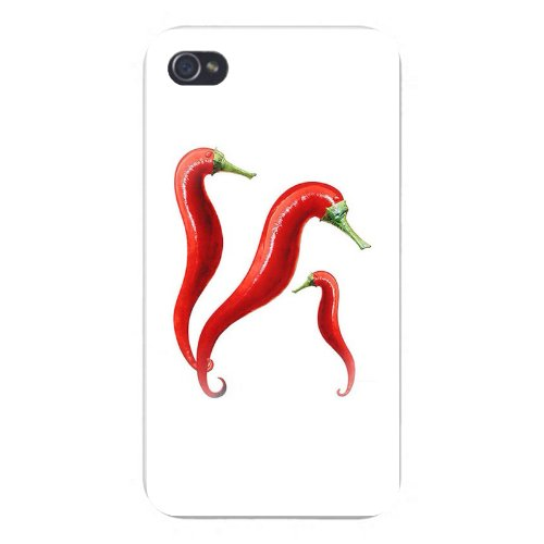Hat Shark Apple iPhone Custom Case 5 5s and SE Snap on - Funny Red Pepper Sea Horses on White