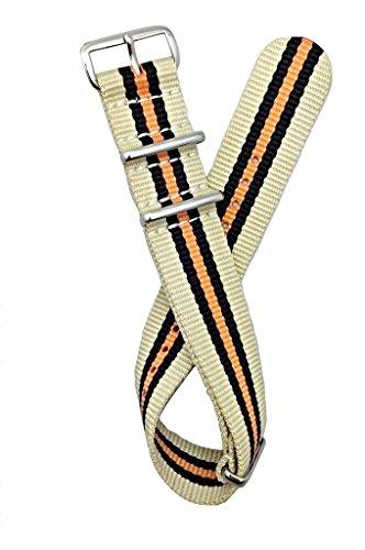 Correa OTAN de 22 mm, bronceado/negro/naranja | Correa de reloj de estilo antiguo vintage de tela de nailon de repuesto que aporta nueva vida a cualquier reloj (para hombres y mujeres)