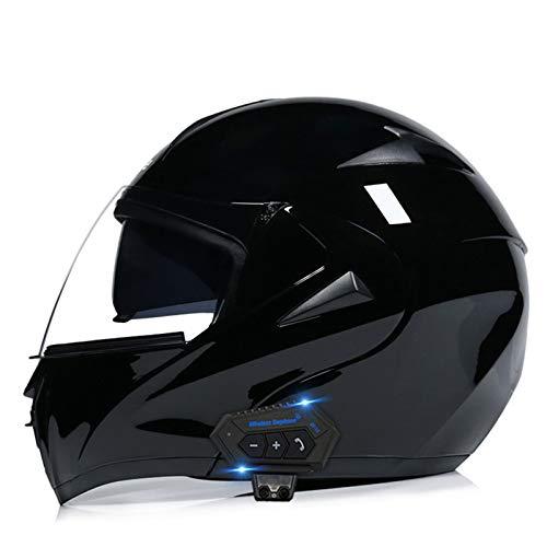Casco Integrado Bluetooth para Motocicleta Integral Adultos Unisex, Casco Carreras de Motocross Off-Road Invierno, Viseras Dobles Abatibles Cascos Modulares Certificación Dot, Negro