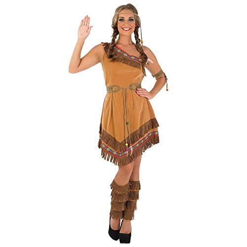 Fun Shack Braunes Indianer Kostüm für Damen, Cowgirl Verkleidung Erwachsene, Sexy Faschingskostüm - XL
