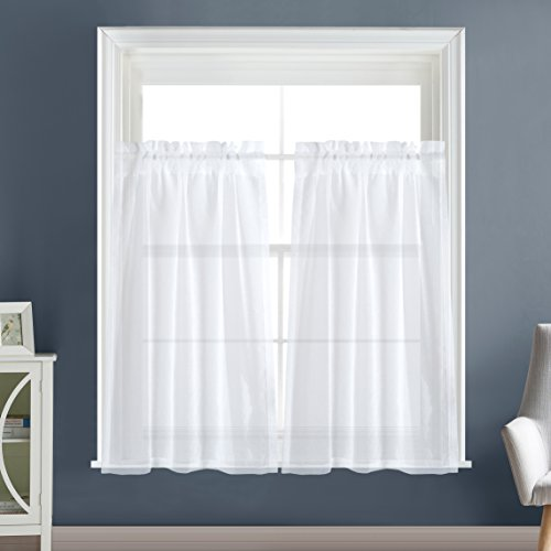 """Dreaming Casa Solid Sheer Curtains Living Room White Rod Pocket Voile Draperies Window Treatment 30"""" W x 36"""" L 2 Panels"""