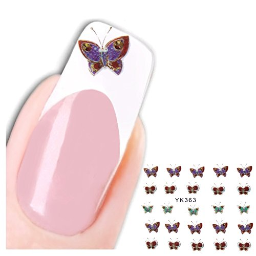 Just Fox – 3D Stickers ongles New Design Paillettes Butterfly Papillon Autocollants pour nail art