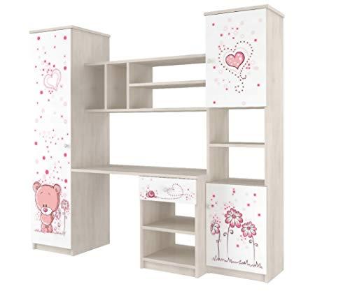 123home24.com Kinderzimmer Sternchen 3-teilig Kinderbett Kommode Schrank Weiss/Rosa Komplettset (Schrankwand)