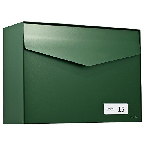 MEFA Briefkasten Letter (113) Moosgrün semi mat Namenschild RAL 6005 Wandbriefkasten