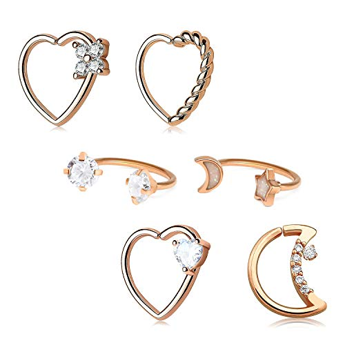 Longita Daith Rook Snug Tragus Piercing Earrings Stainless Steel 16G Heart Moon Shaped Horseshoe Rings Ear Cartilage Ring Body Piercing Jewelry 6PCS-Rose Gold