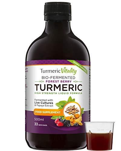 Curcuma Bio-Fermenté avec Gingembre et Poivre Noir à Boire   6 milliards de probiotiques et enzymes   Turmeric Vitality