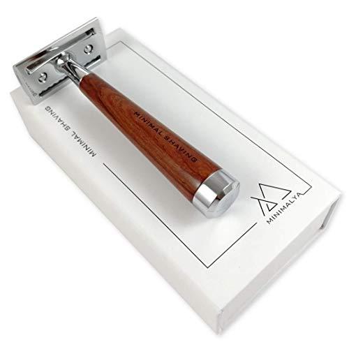Minimal Shaving par Minimalya, Rasoir de Sûreté Homme & Femme pour un Rasage Traditionnel et Zéro Déchet, Rasoir Traditionnel, Rasoir de sécurité avec Manche en Bois