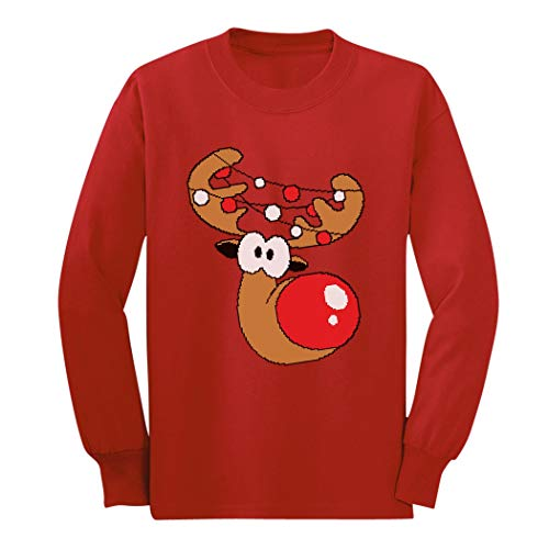 Reindeer Funny Christmas Youth Kids Long Sleeve T-Shirt Large Red