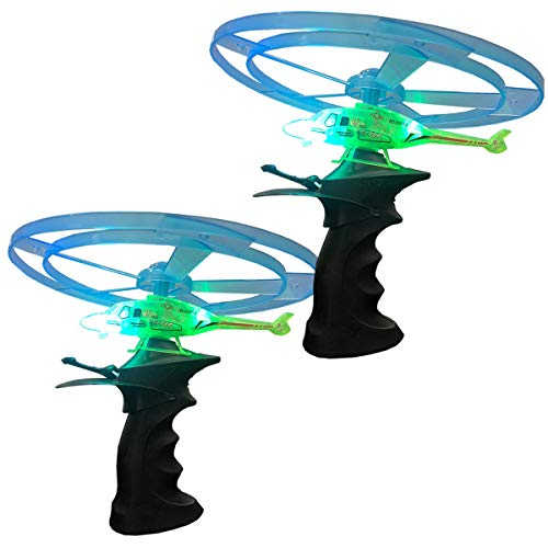 Kicko Flying Light-Up Toy - 2 Pack Ripcord Helicopter for Night Glow, Outdoor Playtime, Novelty, Rocket Flyer, Party Favor and Supply
