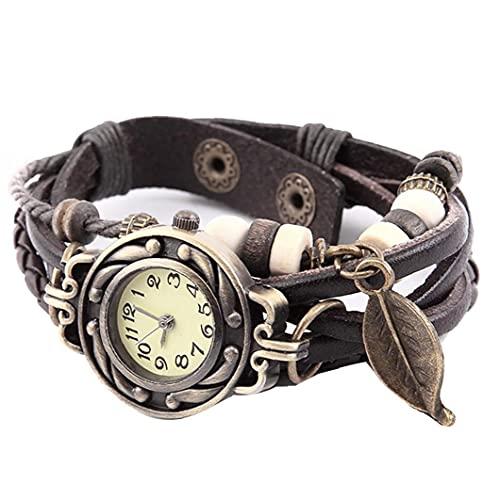 Las mujeres miran el reloj trenzado de la hoja de árbol de cuarzo analógico con el reloj de pulsera de la pulsera de la pulsera de la pulsera de la brazalete de cuero retro (café)