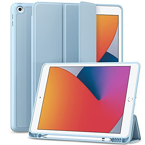 Maledan iPad 第8世代 ケース 2020/2019 iPad 10.2 ケース ペンシル収納 軽薄 衝撃吸収 レザー TPU スタンド機能付き オートスリープ/ウェイク iPad 第8世代 カバー (アジサイ)