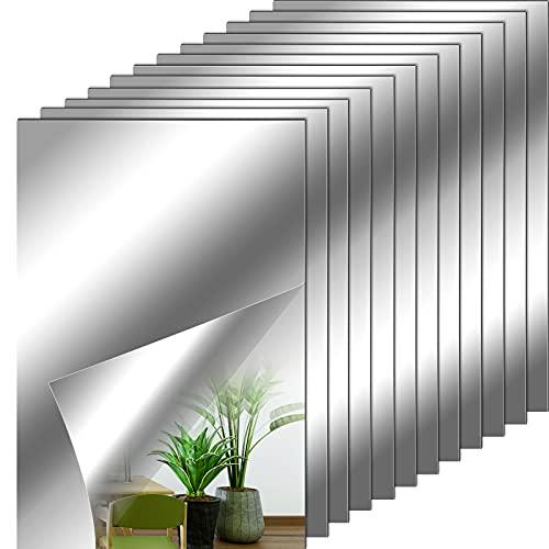 Feuilles de Miroir Flexibles Carreaux de Miroir Adhésifs Non en Verre Autocollants de Miroir Mural pour Décoration Murale à Maison, 6 x 9 Pouces (12 Pièces)