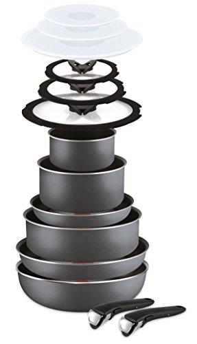 Lagostina Ingenio Essential Batteria di Pentole, Manico amovibile, 14 Pezzi, Alluminio, Nero, 20 cm, unità
